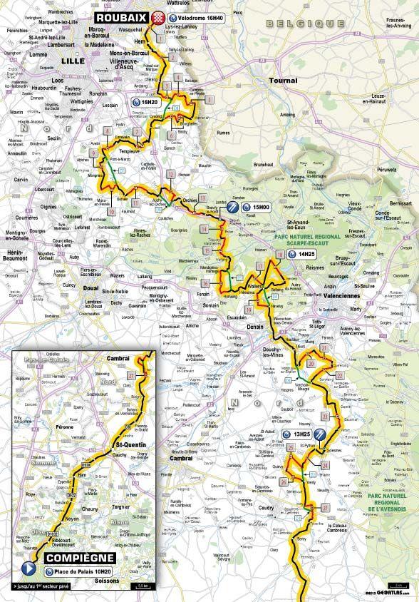 Parigi Roubaix 2013 percorso planimetria