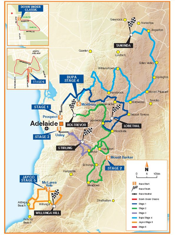 Tour Down Under 2013 percorso tappe