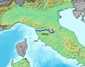 Pista Ciclabile di 250 in Toscana lungo l'Arno