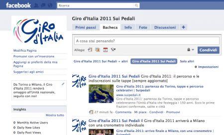 Diventa fan su Facebook della nostra pagina sul Giro d'Italia 2011