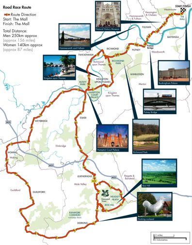 olimpiadi londra 2012 ciclismo percorso
