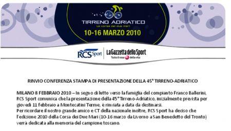 Tirreno Adriatico 2010 sarà dedicata a Franco Ballerini