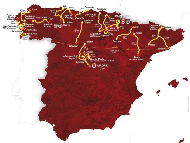Vuelta di Spagna 2012: percorso, tappe e salite ufficiali