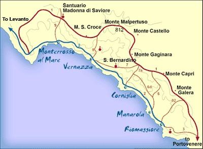 Mappa Cinque Terre
