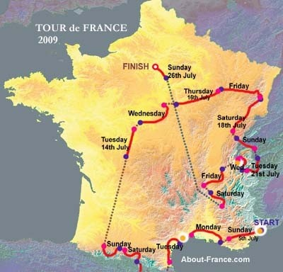 Tour de France 2009 mappa