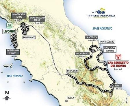 Tirreno Adriatico 2010: tappe e percorso ufficiali