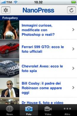 Applicazione Nanopress iPhone foto