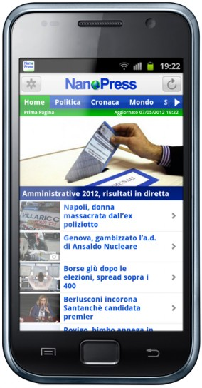 App Nanopress per Android, screenshot