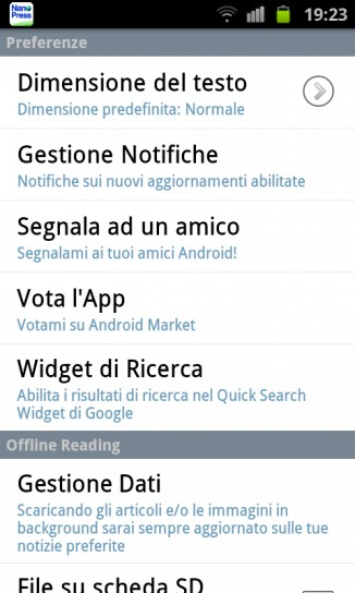 Nanopress per Android, preferenze