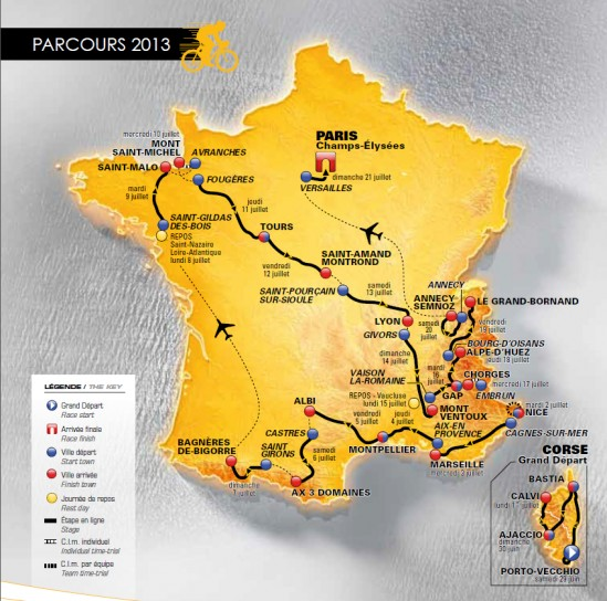 Tour de France 2013 tappe percorso